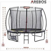 Trampoline AREBOS12 pieds 366cm Courbe Citrouille avec filet de sécurité Échelle