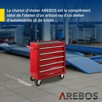AREBOS Chariot à Outils Chariot Boîte à Outils Chariot d'Atelier 5 Tiroirs - Rouge