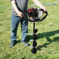 AREBOS TARIÈRE Thermique Essence 3 sabots de forage (100-150-200mm) 2,18HP 52CC