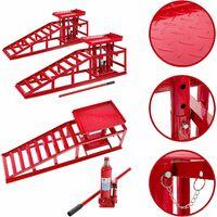 AREBOS 2x Voitures Véhicule Rampe Jack Hauteur Hydraulique Réglable 2 T Rouge - Rouge
