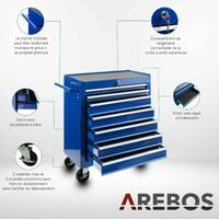 AREBOS Chariot d'Atelier Chariot à Outils Chariot Boîte à Outils 7 Tiroirs Bleu - Bleu