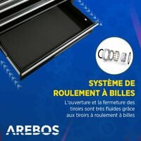 AREBOS Chariot d'Atelier Chariot à Outils Chariot Boîte à Outils 7 Tiroirs Noir - Noir