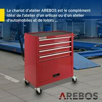 AREBOS Chariot à Outils Chariot Boîte à Outils Chariot d'Atelier 4 Tiroirs - Rouge