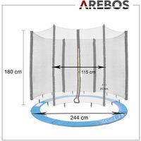 AREBOS Coussin de Protection pour Trampoline 244 cm + Filet pour 6 tiges - bleu