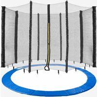 AREBOS Coussin de Protection pour Trampoline 366 cm + Filet pour 8 tiges - Bleu