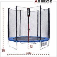 AREBOS Trampoline 244 cm avec filet de sécurité et échelle - bleu