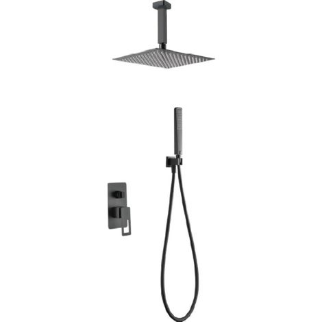 Conjunto de ducha empotrada negro mate Serie Estocolmo