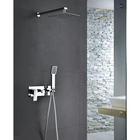 Griferia de ducha empotrada pared ide acero inoxidable monomando Serie Noruega - IMEX