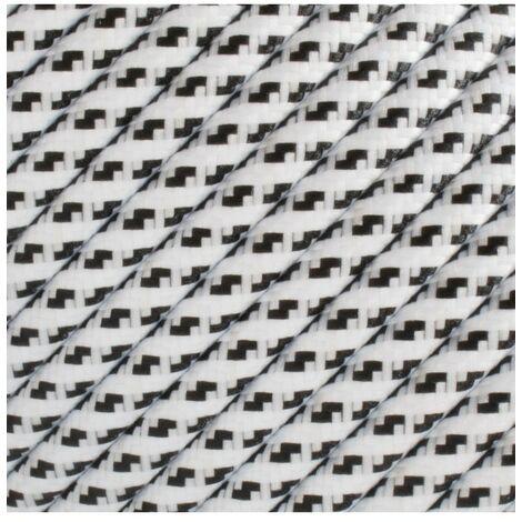Fil électrique tressé - 2x0.75mm2 - Sur mesure - Blanc et noir