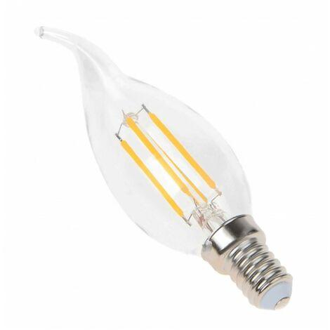 Blanc Neutre - Ampoule filament LED flamme Transparent - E14 - BA35 - 4 W - SMD Epistar - Ecolife Lighting® - Blanc Neutre