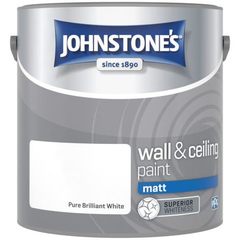 Johnstones No Ordinary Paint Water Based Interior Vinyl Matt Emulsion Pure Brilliant White 2.5 Litre