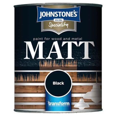 Johnstones Specialty Paints Flat Matt Black Paint 250ml