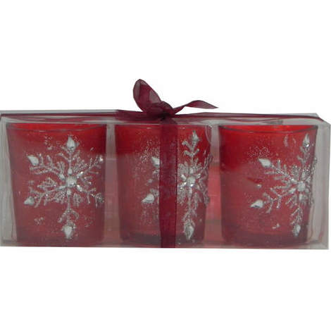 Tealight Holder with Jewelled Snowflake Decoration Pack of 3