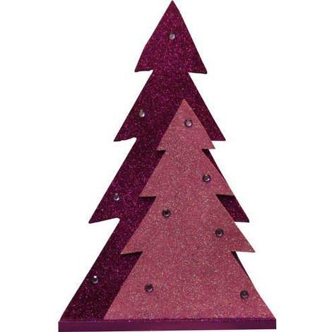 Christmas Decoration Wooden Glitter Tree Purple 29.5cm