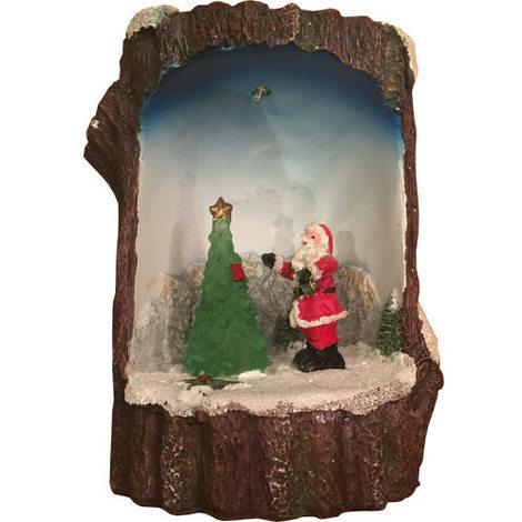 Light Up Log Scene Santa