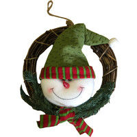 Christmas Decoration Wreath with Snowman 30cm