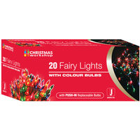 Fairy Lights with Coloured Bulbs Set of 20