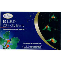 20 Holly Berry Lights 60 LED Green & Red Ultra Bright