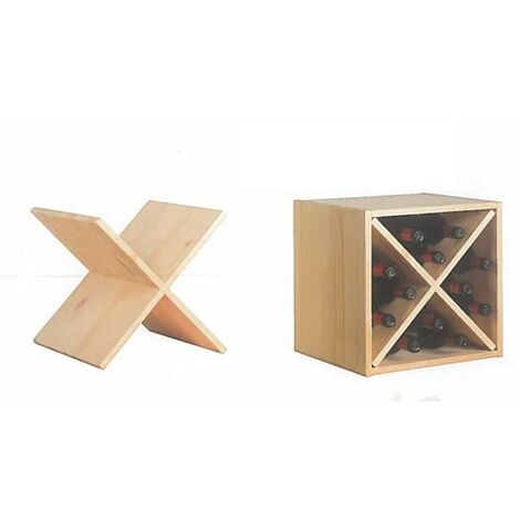 Kit mobile pensile portabottiglie cubo in massiccio di pino 36x33x36h cm legno naturale - Salone
