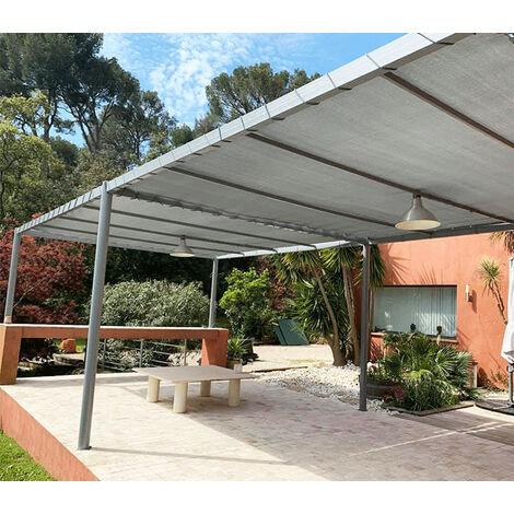 Toile d'ombrage perméable de 5x4m à tendre sur structure pergola   Gris Platine