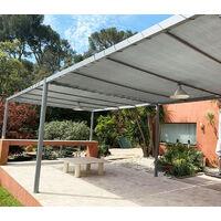 Toile d'ombrage perméable de 4x4m à tendre sur structure pergola | Gris Platine
