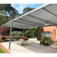 Toile d'ombrage perméable de 5x3m à tendre sur structure pergola   Gris Platine