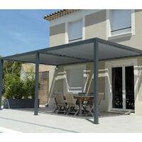 Toile d'ombrage perméable de 6x3m à tendre sur structure pergola | Gris Platine