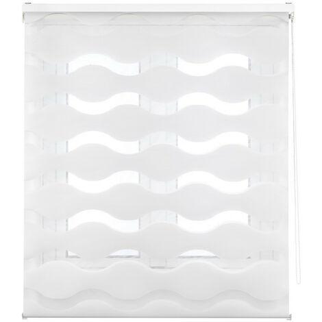 Blindecor Mediterraneo - Estor enrollable doble tejido alta calidad, noche y día ondas , 100 x 180 cm (ancho x alto) , color Crema