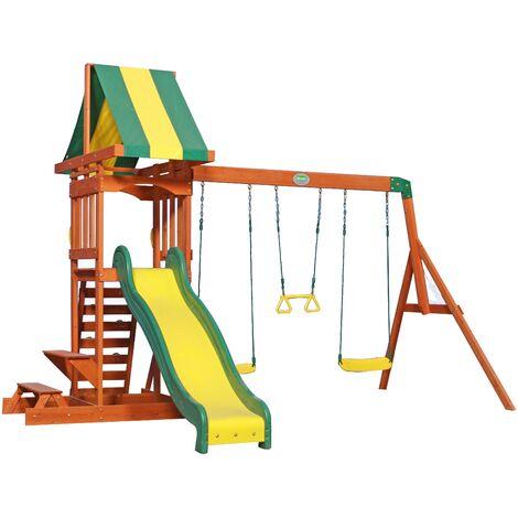 Backyard Discovery Sunnydale aire de jeux en bois | Avec balançoire / toboggan / bac de sable / pique-niquer | Maison enfant exterieur