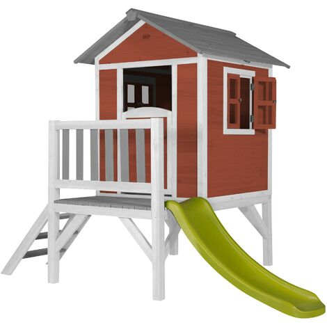 AXI Maison Enfant Beach Lodge XL en Rouge avec toboggan en vert clair   Maison de Jeux en bois FFC pour les enfants   Maisonnette / Cabane de jeu pour le jardin