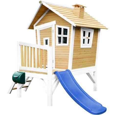 AXI Robin Maison Enfant avec Toboggan Bleu | Aire de Jeux pour l'extérieur en marron & blanc | Maisonnette / Cabane de Jeu en Bois FSC