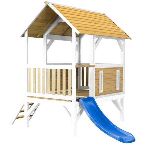 AXI Akela Maison Enfant avec Toboggan Bleu   Aire de Jeux pour l'extérieur en marron & blanc   Maisonnette / Cabane de Jeu en Bois FSC