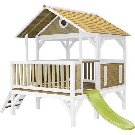 AXI Meeko Maison Enfant avec Toboggan Vert clair | Aire de Jeux pour l'extérieur en marron & blanc | Maisonnette / Cabane de Jeu en Bois FSC