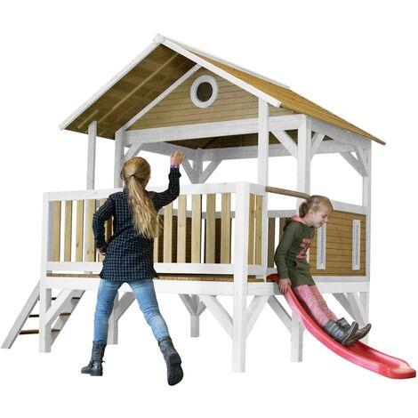 AXI Meeko Maison Enfant avec Toboggan Rouge   Aire de Jeux pour l'extérieur en marron & blanc   Maisonnette / Cabane de Jeu en Bois FSC