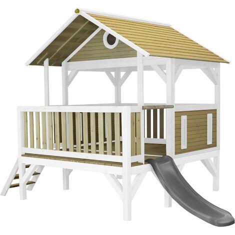 AXI Meeko Maison Enfant avec Toboggan Gris   Aire de Jeux pour l'extérieur en Marron & Blanc   Maisonnette / Cabane de Jeu en Bois FSC