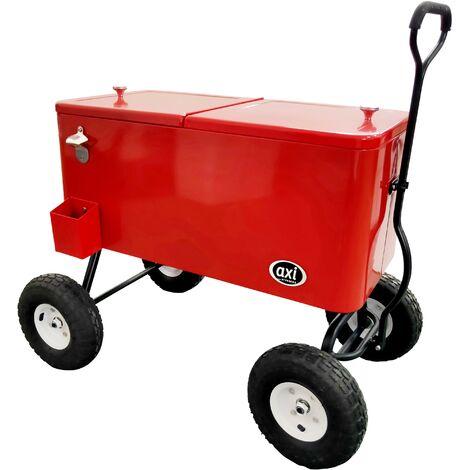 AXI Retro Cooler Rouge | Réfrigérateur de boissons mobile pour l'extérieur / le jardin | Glacière 76 litre