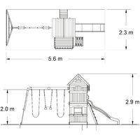 Backyard Discovery Atlantic aire de jeux en bois   Avec balançoire / toboggan / bac de sable / mur d'escalade   Maison enfant exterieur