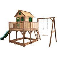 AXI Liam Maison Enfant avec Bac à Sable, Balançoire & Toboggan vert | Aire de Jeux pour l'extérieur en marron & vert | Maisonnette / Cabane de Jeu en Bois FSC