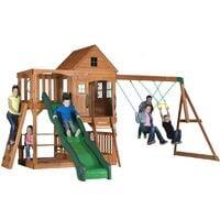 Backyard Discovery Hill Crest aire de jeux en bois   Avec balançoire / toboggan / bac de sable / mur d'escalade   Maison enfant exterieur