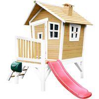 AXI Robin Maison Enfant avec Toboggan Rouge | Aire de Jeux pour l'extérieur en marron & blanc | Maisonnette / Cabane de Jeu en Bois FSC