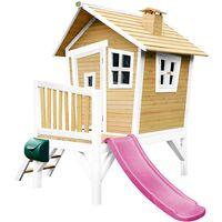 AXI Robin Maison Enfant avec Toboggan Violet | Aire de Jeux pour l'extérieur en marron & blanc | Maisonnette / Cabane de Jeu en Bois FSC