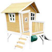 AXI Robin Maison Enfant avec Toboggan Blanc | Aire de Jeux pour l'extérieur en marron & blanc | Maisonnette / Cabane de Jeu en Bois FSC