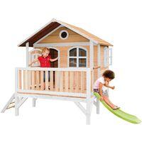 AXI Stef Maison Enfant avec Toboggan vert clair   Aire de Jeux pour l'extérieur en marron & blanc   Maisonnette / Cabane de Jeu en Bois FSC