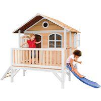 AXI Stef Maison Enfant avec Toboggan bleu | Aire de Jeux pour l'extérieur en marron & blanc | Maisonnette / Cabane de Jeu en Bois FSC