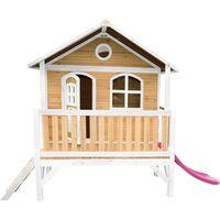 AXI Stef Maison Enfant avec Toboggan rose | Aire de Jeux pour l'extérieur en marron & blanc | Maisonnette / Cabane de Jeu en Bois FSC
