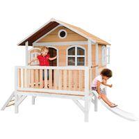 AXI Stef Maison Enfant avec Toboggan blanc | Aire de Jeux pour l'extérieur en marron & blanc | Maisonnette / Cabane de Jeu en Bois FSC