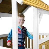 AXI Akela Maison Enfant avec Toboggan Vert clair   Aire de Jeux pour l'extérieur en marron & blanc   Maisonnette / Cabane de Jeu en Bois FSC
