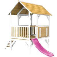 AXI Akela Maison Enfant avec Toboggan Violet | Aire de Jeux pour l'extérieur en marron & blanc | Maisonnette / Cabane de Jeu en Bois FSC