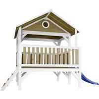 AXI Meeko Maison Enfant avec Toboggan Bleu | Aire de Jeux pour l'extérieur en marron & blanc | Maisonnette / Cabane de Jeu en Bois FSC