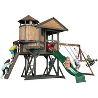 Backyard Discovery Eagles Nest aire de jeux en bois | Avec balançoire / toboggan / bac de sable / mur d'escalade / tours de guet | Maison enfant exterieur XXL